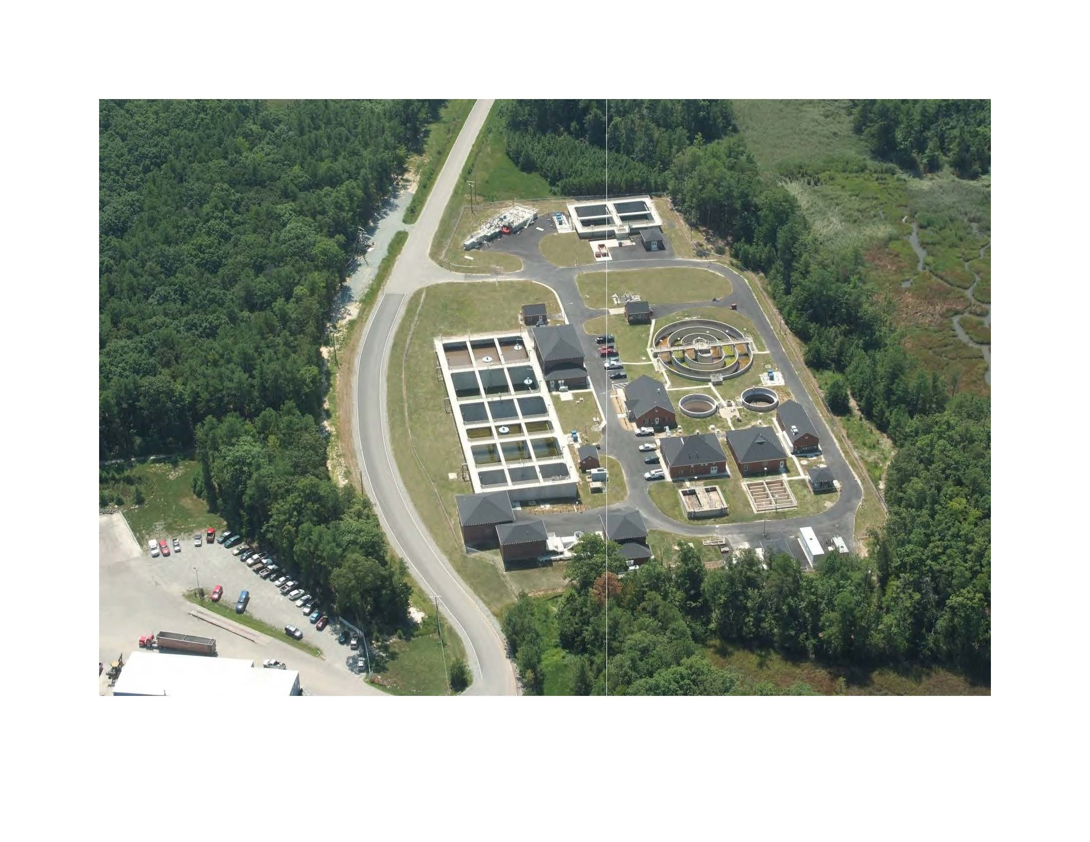 Aerial view of Parham Landing Wastewater Treatment Plant
